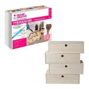 Pyrography box + 4-drawer storage shelf