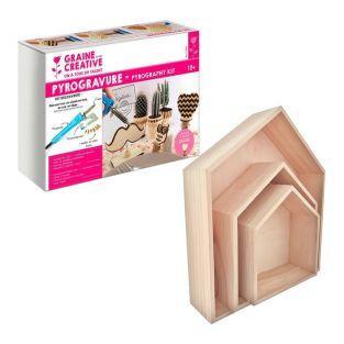 Pyrography box + 3 nesting house...