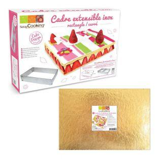 Rectangle extendable pastry frame + 5...