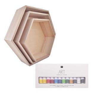 3 baldas hexagonales de madera + set...