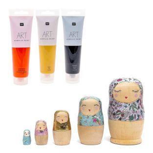 5 bambole russe in legno + vernice...
