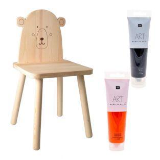 Chaise enfant bois Ours polaire à...