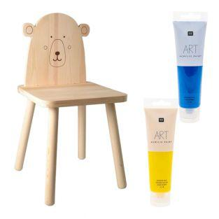 Wooden children's chair polar bear to...