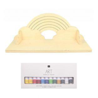 Rainbow wood shelf and 12 acrylic paints