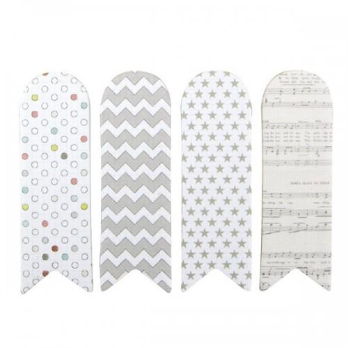 80 adhesives bookmark - white with patterns