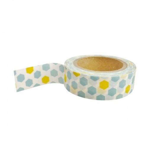 Masking tape avec motifs bleus et jaunes