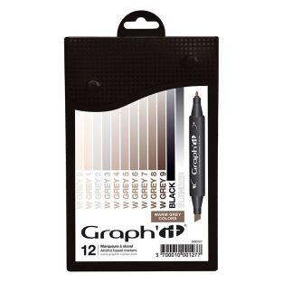 Set 12 markers Graph'It - Warm Gray...