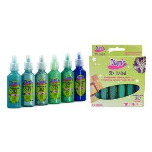 Set 6 assorted colors Diam's 3D Mini...