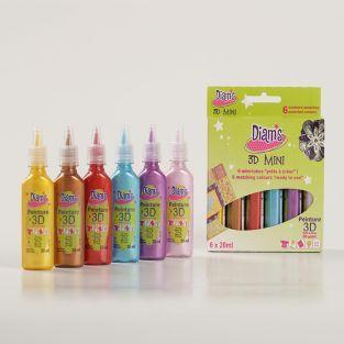 Set 6 couleurs nacrées Diam's 3D Mini...