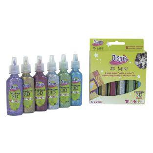 Set 6 glitter colors Diam's 3D Mini -...