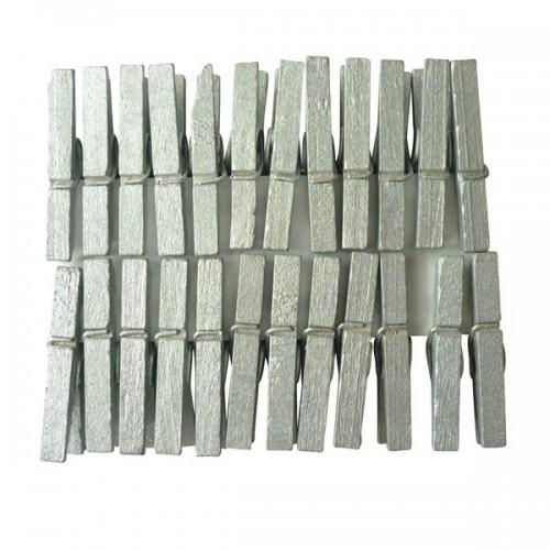 24 mini pinzas de madera plateadas