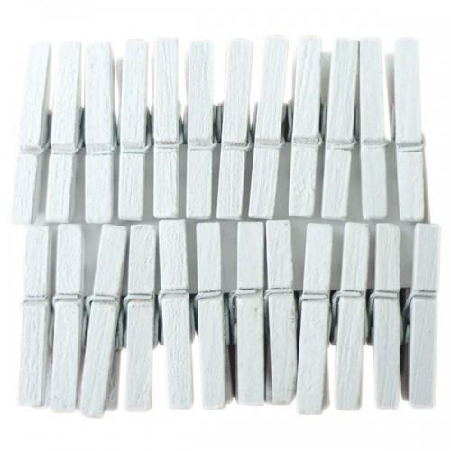 24 mini pinzas de madera blancas
