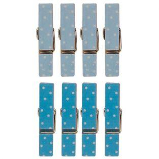8 mini magnetic clothespins 3.5 cm - blue
