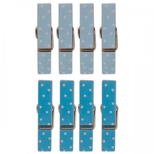 8 mini pinces à linge aimantées bleues 3,5 cm