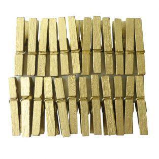 24 mini pinzas de madera doradas