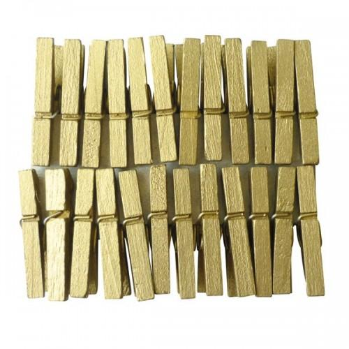 24 mini clothespins - golden