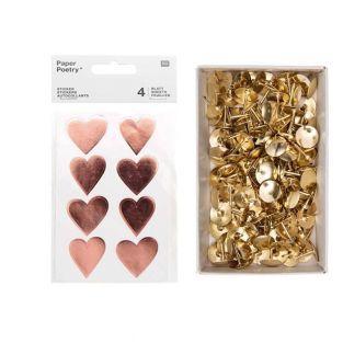 4 sheets of golden pink shiny hearts...