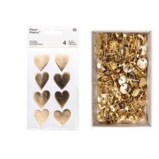4 sheets of golden shiny hearts...