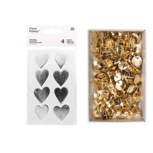 4 sheets of silver shiny hearts...