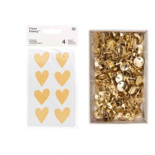 4 kraft heart sticker sheets + 150...