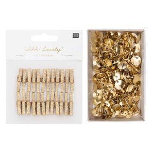 24 small golden glitter wood...