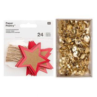 24 kraft & red star hanging labels +...