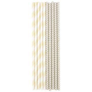 25 pailles beiges en papier