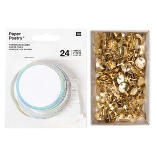 24 round paper hanging labels + 150...