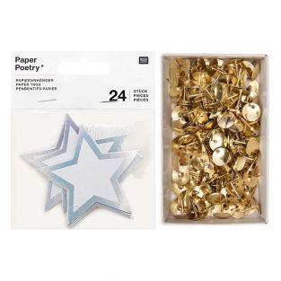 24 silver star hanging labels + 150...