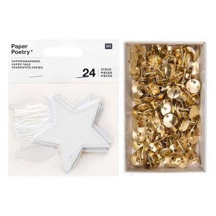 25 glitter star hanging labels + 150...