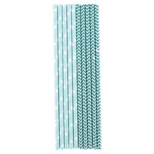 25 blue paper straws