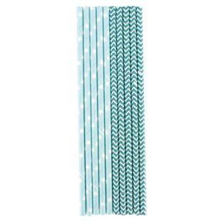 25 pailles bleues en papier