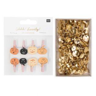 8 wooden pumpkin clips + 150 golden...