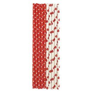 25 red paper straws