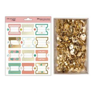 24 pastel & gold stickers for...