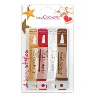 4 icing pens : gold, chocolate, white...