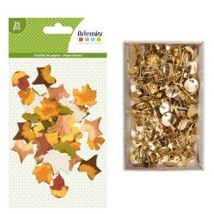 25 feuilles d'arbre papier Automne +...