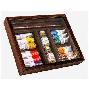 Caja de madera Pintura de aceite fina...