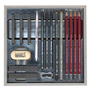 Caja de plata del Cretacolor - 17 piezas
