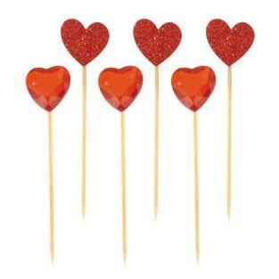 18 palillos corazón rojo