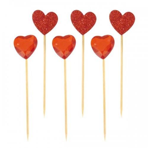 18 piques apéro coeur rouge