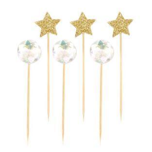 18 palillos con estrellas y bolas