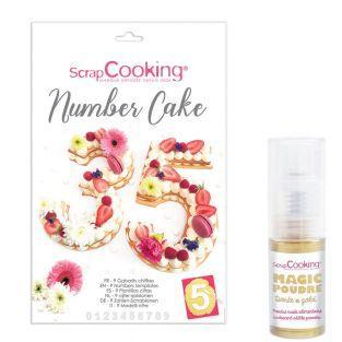 Number cake box + Golden edible powder