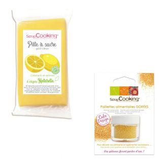 Yellow sugar paste 250 g lemon flavor...