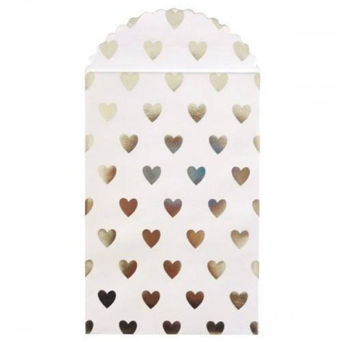 6 paper bags - silver heart glitter