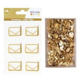 6 enveloped paper clips + 150 golden...