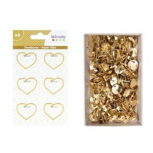 6 heart paper clips + 150 golden...