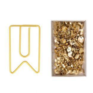 6 Büroklammern + 150 goldenen Reißnägel