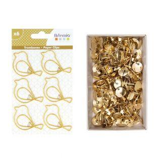 6 bird paper clips + 150 golden metal...