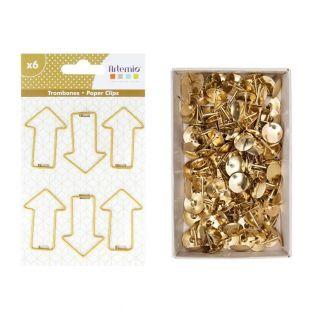 6 arrow paper clips + 150 golden...